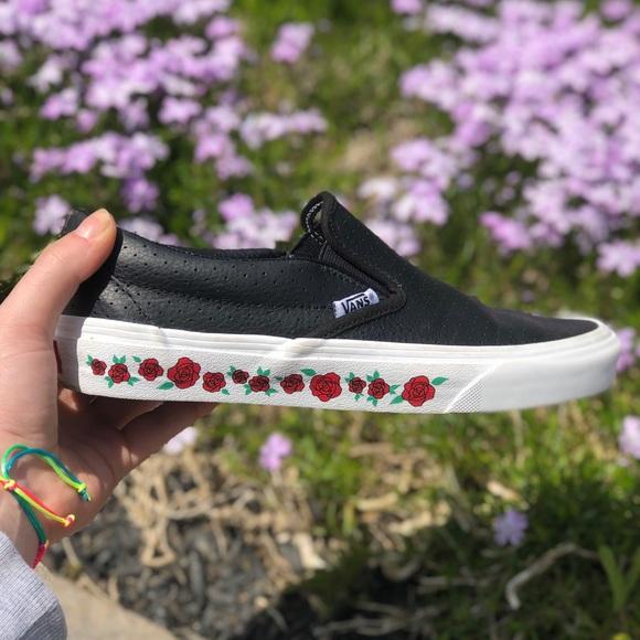 Custom rose leather slip on vans